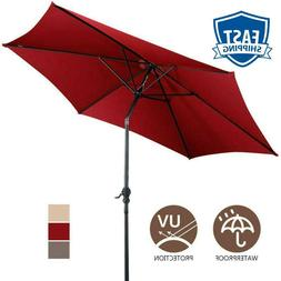 10 ft 6 Ribs Patio Umbrella with Crank UV Protective and Wat