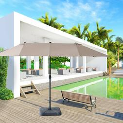 15ft Double-sided Large Patio Twin Umbrella Outdoor Garden M