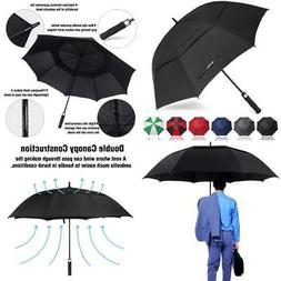 62 Inch Windproof Large Golf Umbrella Vented Double Canopy &