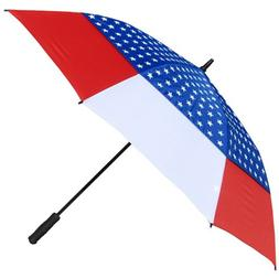 RainStoppers Auto Open Windbuster Umbrella with USA Flag Can