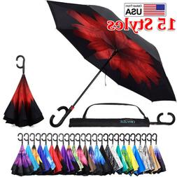 Double Layer Inverted Umbrella Reverse Folding Umbrellas UV