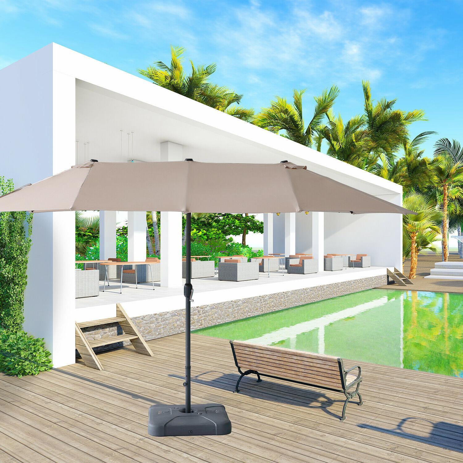 15ft double sided patio twin umbrella