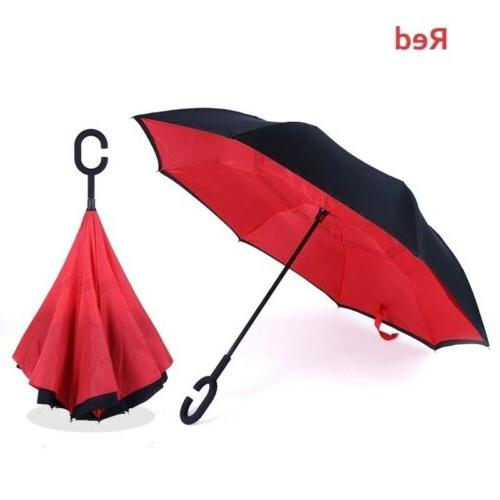 Double Inverted Umbrella Reverse Protective Windproof