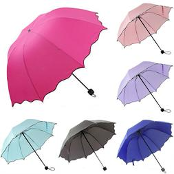 Portable Folding Umbrella Windproof Anti UV Rain Travel Comp