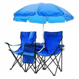 Portable Outdoor 2-Seat Folding Chair with Removable Sun Umb