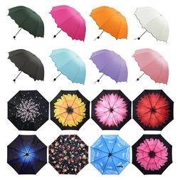 Women Windproof AntiUV Compact Rain Sun Umbrella Parasol Fol